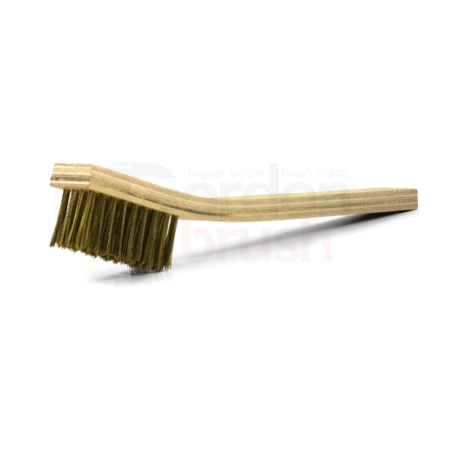 "4 x 9 Row 0.008"" Brass Bristle and Plywood Handle Large Scratch Brush"