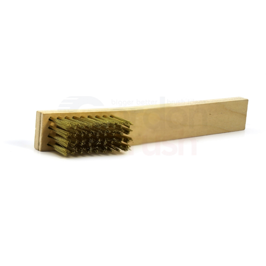 "4 x 9 Row 0.008"" Brass Bristle and Plywood Handle Large Scratch Brush 2"