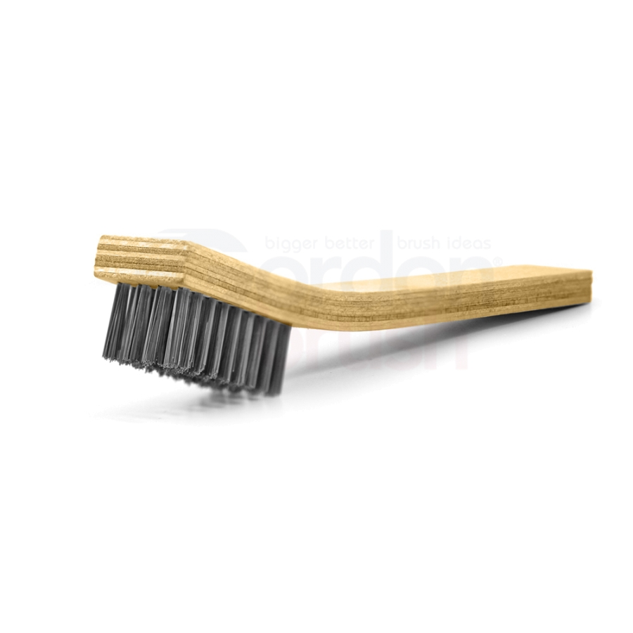 "4 x 9 Row 0.008"" Stainless Steel Bristle and Plywood Handle Large Scratch Brush 1"