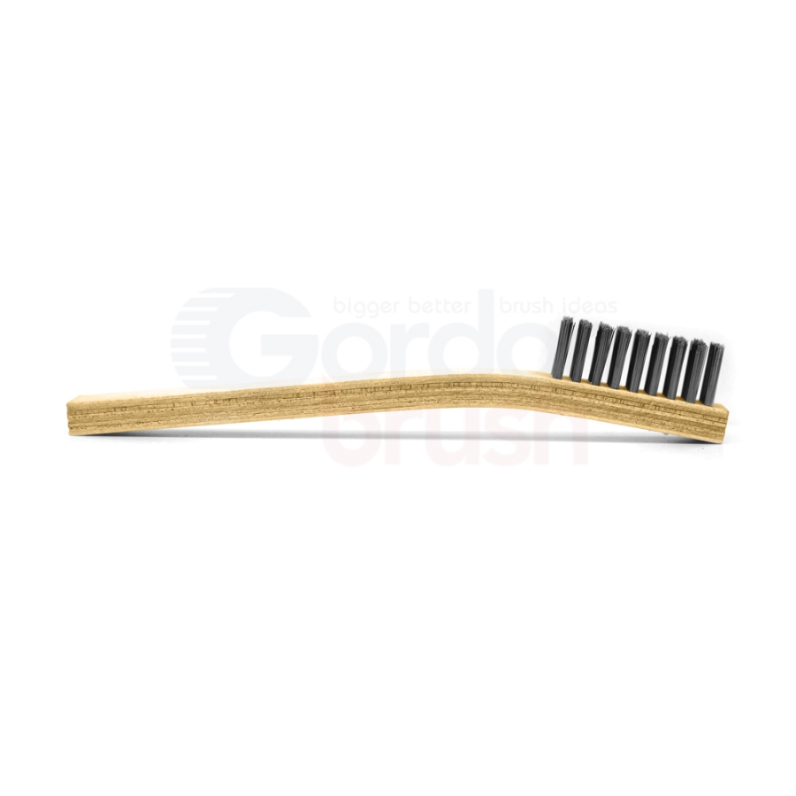 "4 x 9 Row 0.008"" Stainless Steel Bristle and Plywood Handle Large Scratch Brush 3"