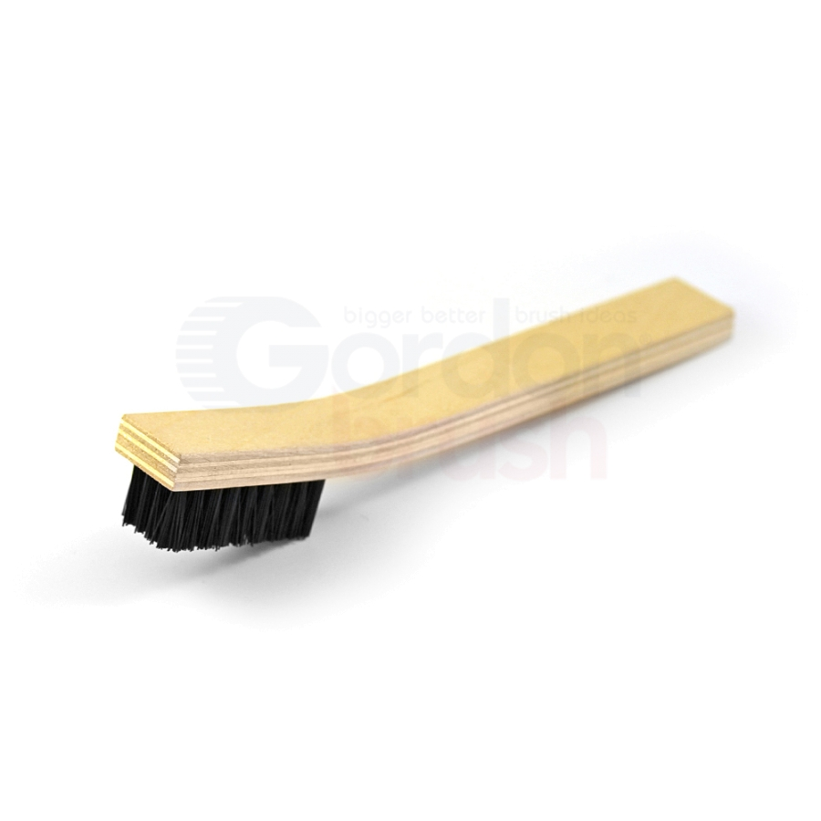 "4 x 9 Row 0.018"" Nylon Bristle and Plywood Handle Large Scratch Brush"