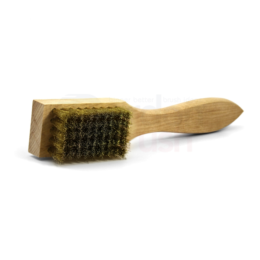 "5 x 9 Row 0.006"" Brass Bristle and Shaped Wood Handle Scratch Brush 2"