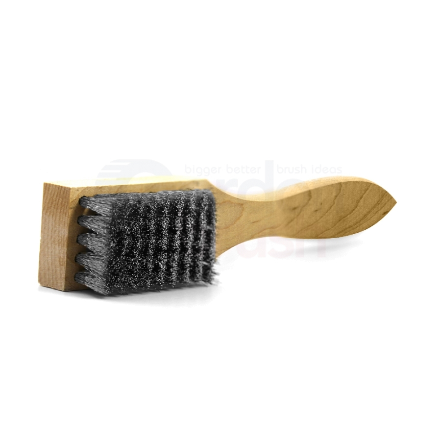 "5 x 9 Row 0.008"" Stainless Steel Bristle and Shaped Wood Handle Scratch Brush 2"