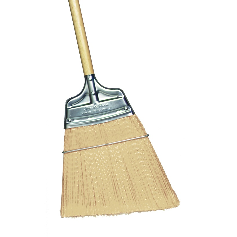 Angled Moderate Stiffness Speedy Corn® Broom with Polypropylene Bristles and Wood Handle