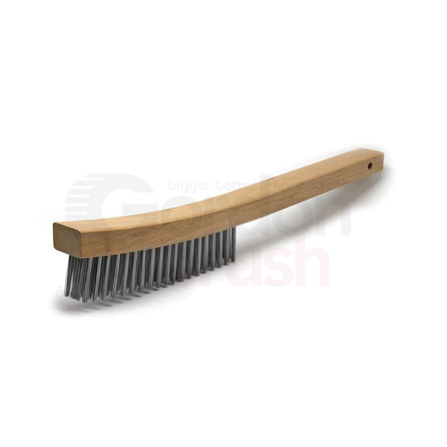 "Economy 4 x 19 Row 0.012"" Stainless Steel Wire and 13-3/4"" Wood Handle Scratch Brush"