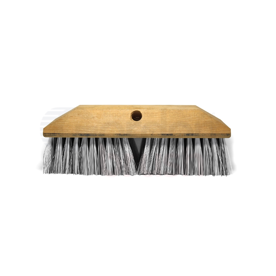 Grey Nylon Bristle and Wood Block Scrub Brush Head