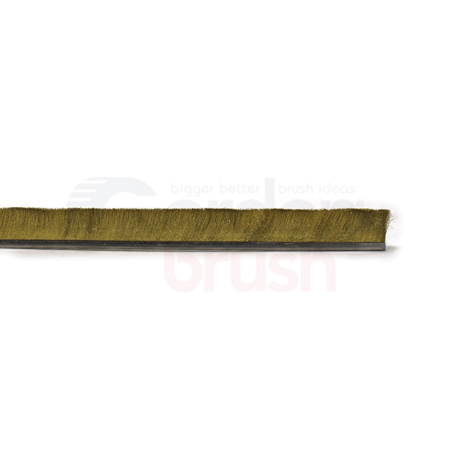 "Height 1"" No. 4 Channel Strip Brush - .004"" Brass Bristle Diameter"