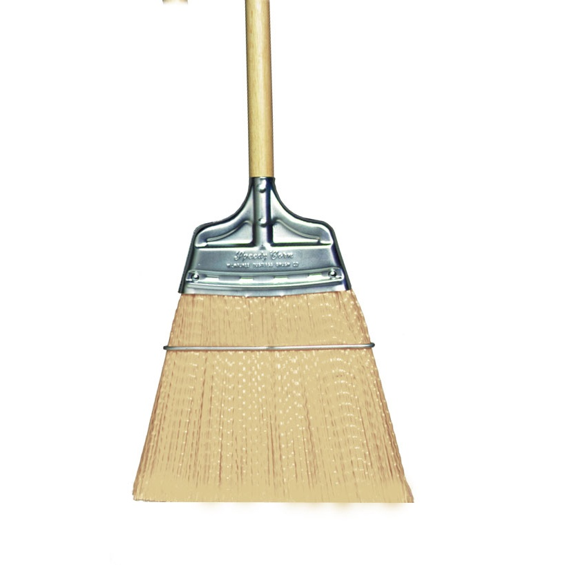 Straight-Moderate Stiffness Speedy Corn® Broom with Polypropylene Bristles and Wood Handle