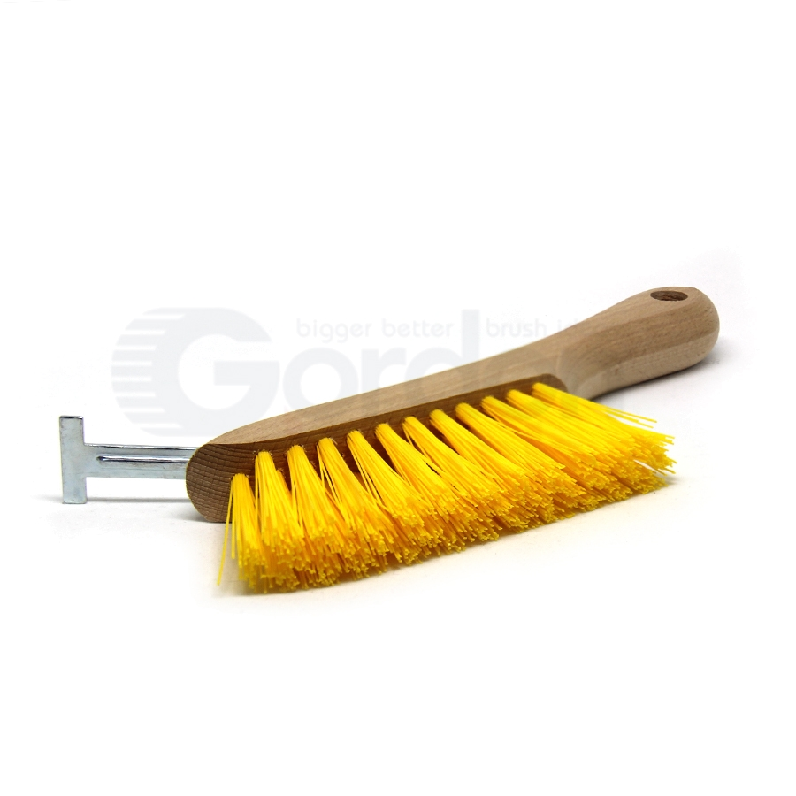 T-Slot Cleaning Brush – 3 x 11 Row Polypropylene Bristle Hardwood Handle with T-slot Scraper 2