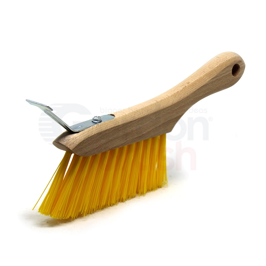 T-Slot Cleaning Brush – 3 x 11 Row Polypropylene Bristle Hardwood Handle with T-slot Scraper