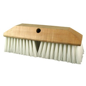 White Nylon Bristle and Wood Block Scrub Brush Head